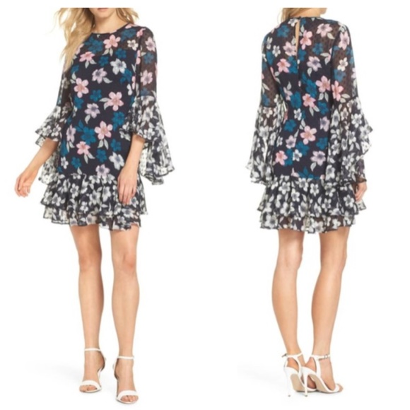 Eliza J Bell Sleeve Floral Chiffon Shift Dress